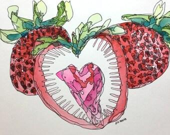 Strawberries Original 6.5x10 inch Watercolor & Ink painting by Nan Henke 1611