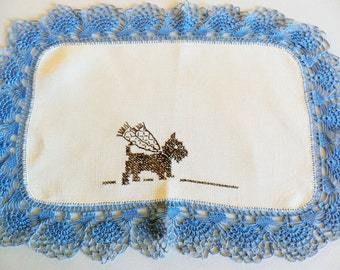 Small Blue Doily, Hand Embroidered Doily, Scottie Dog Doily, Small Blue Mat, Dog Doily, Blue Doily
