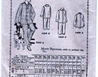 1919 Butterick 3442 Men's Pajamas Chest 40""