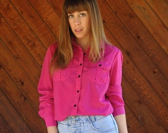 extra 30% off sale . . . Hot Pink Polka Dot Button Down Shirt Blouse - Vintage 90s - MEDIUM