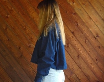 extra 30% off sale . . . Denim Crop Top Embroidered Shirt - Vintage 90s - MEDIUM
