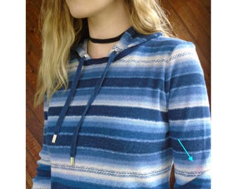 Navajo Striped Hooded Thermal Pullover Top - Vintage 90s - S/M
