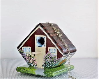 Small Red and Cream Birdhouse , Handmade , Hand Painted , Lots of Flowers , with Clean Out