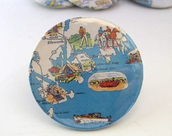 Vintage Travel Map Pin - Badge - Bar Harbor MDI