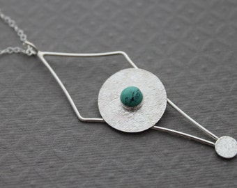 Turquoise Sterling Silver Necklace boho chic indie festival gift pendant - Pendulum