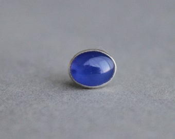Sterling Silver Blue Onyx Tie Tack Father's day Men's jewelry lapel pin gift idea for him