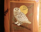 Sunset Stitchery 1978 Great Snow Owl Embroidery Kit 16 x 20 NIP