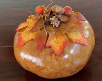 Corsican Gourd with Fall Leaves, Acorns and Berries