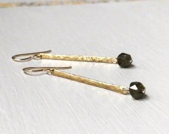 Green Tourmaline Dangle Earrings