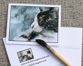 Cat card with cat Kitten card card watercolor cat card set cat NOTECARD SET painted card gift for her cat lover gift Variety Set of 8