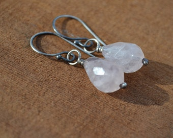 Rose Quartz Teardrop Earrings Hand Fabricated Sterling Silver