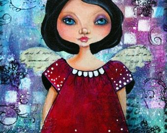 SWEET ANGEL 8 x 10 ORIGINAL on  canvas mixed media