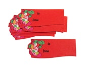 """Set of 2.8"""" x 1.2"""" Vintage Paper To/From Christmas Themed Holiday Gift Tags - Red Patchwork Holly Stocking (12pcs)"""