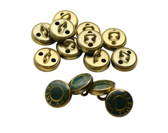 Set of 14 Metal / Epoxy Resin Talbots Est. 1947 Brand Name Apparel Sewing Round Shank Buttons - Glossy Forest Green, Brassy Gold Tone (11mm)