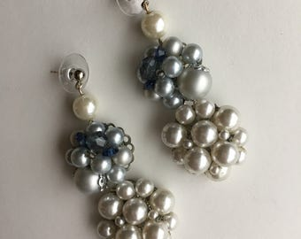 Pearl Cluster Chandelier Statement Earrings- Heirloom Collection
