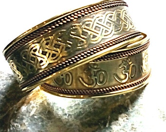 Celtic Border Intricate Knot-work Cuff Solid Brass and Copper Bracelet