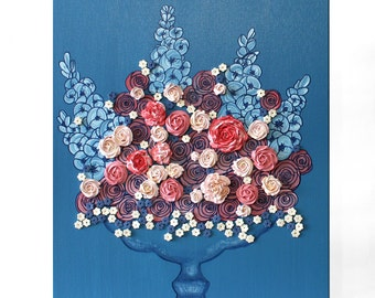 Floral Still Life Original Painting with Sculpted Flowers on Canvas - Blue and Pink Rose Wall Art - Small 16x20