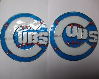 Stained glass Chicago Cubs baseball paque