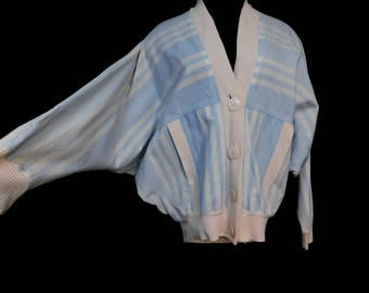 Vintage 80s 90s  Lightweight Wedge Jacket Cotton Blue White Striped Batwing Dolman Deep V Big Buttons Slouchy Draped Spring Summer S M