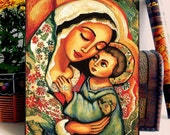 Madonna and Child, Mary and Jesus, folk art icon, religious painting, mother and child, home decor wall decor woman art, woodblock, ABDH