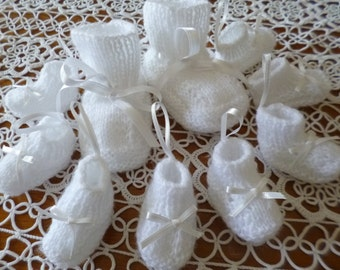 Knitted Minibooties Ornaments, Booties Decoration, Baptisment Decoration, Christening Decoration, Baby Room Decoration,Favors Favor.