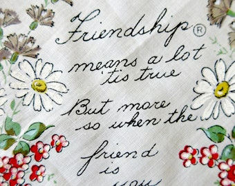Vintage Handkerchief, Friendship Handkerchief, Friend Hankie, Printed Cotton Handkerchief, Scalloped Edge Handkerchief, Vintage Accessory