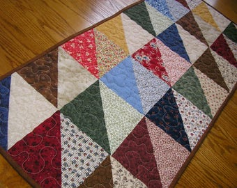 Quilted Table Runner, Patchwork in Greens, Reds, Browns and Blues 17 x 39 1/2
