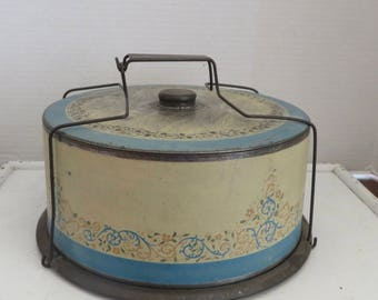 Vintage/Antique Cake Tin Blue and Cream Scroll Design with Original Porcelain Matching Cake Plate
