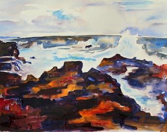 ORIGINAL Hawaii Big Island Seashore colorful watercolor painting 9x12 seascape