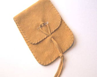 Leather Tarot Bag / Medicine Bag...Large Vertical Flap...GOLD SUEDE