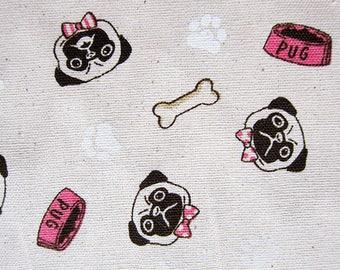 Animal Print Fabric - Cotton Linen Blend Fabric - Pugs and Bones - Half Yard