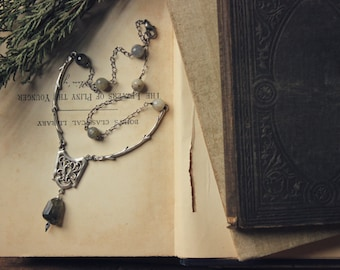 Winter Garden | Garden Gate Necklace. Rustic, Romantic, Gothic, Woodland Labradorite and Antiqued Silver Necklace.