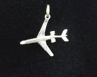 Jet Airplane Charm, Freeport Bahamas Charm, Vintage Sterling Silver Charm, Airplane Pendant, Transportation Charm, Sterling Silver Airplane,