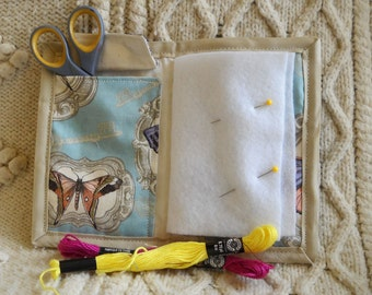 Antique Butterflies Needle Book, Needle Case, Sewing Organizer