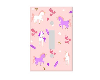 Unicorn Light switch Cover, Pink Purple switchplate, Fantasy switch cover, Girls Bedroom Decor, Unicorn Rocker cover, Outlet cover