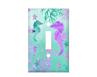 seahorse light switch cover teal purple switchplate watercolor ocean rocker cover electrical outlet