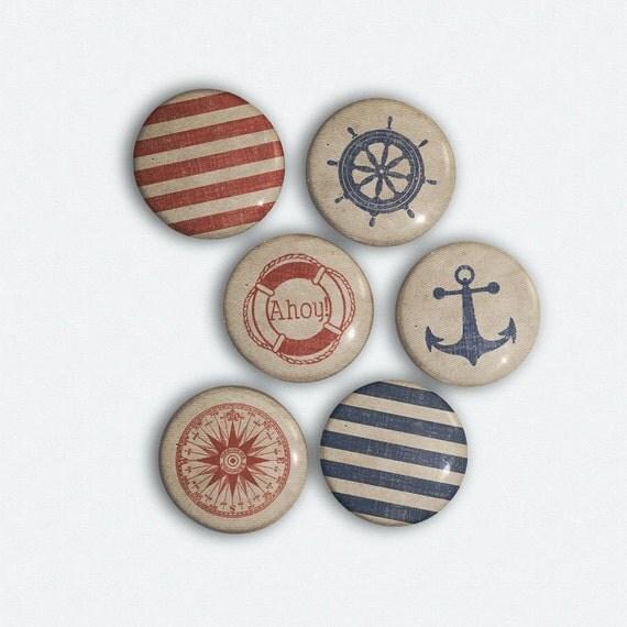 Pinback Buttons - Nautical Fashion Maritime Button Set of 6 - Ahoy Trendy Sailors