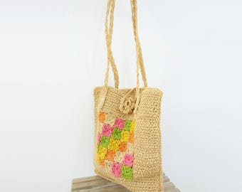1960s Straw Bag Vintage Sisal Bag Boho Straw Bag Crochet Sisal Bag Granny Square Bag 60s Summer Bag Straw Shoulder Bag Summer Straw Bag