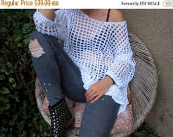 Oversized OPEN KNIT White Sweater Cut Out Slouchy SHEER Crochet Top Off The Shoulder Knit Shirt Mesh Knit Top Grunge Hipster Womens 3xl