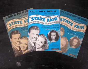 State Fair Vintage Sheet Music Paper Ephemera Rodgers and Hammerstein All I owe Ioway Grand Night For a Sing It Might as Well Be Spring