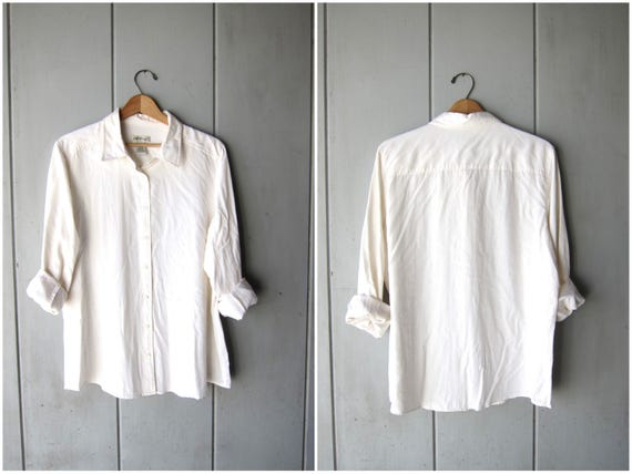 Creamy White SILK Blouse 90s Shirt Button Up Pocket Shirt Minimal Long Sleeve Shirt 1990s Modern Vintage Womens Large 14/16