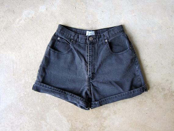"Vintage 90s Black Jean Shorts Faded Black Denim Shorts High Rise MOM Shorts Roll Up Cuff Shorts High Waist Denim Shorts Womens Waist 29"""