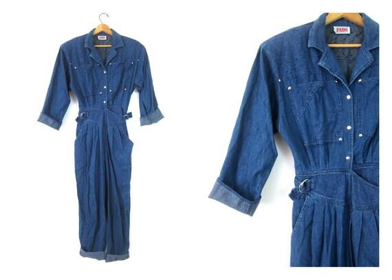 vintage 80s denim jumpsuit jean overalls one piece Pantsuit jumper 1980s Cinch Waist romper jumpsuit Women's Size Small 5 6