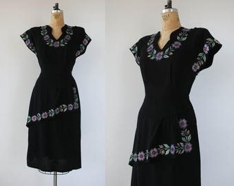 vintage 1940 dress / 40s floral LBD dress / 40s studded dress / 40s sequin dress / 40s peplum dress / 1940s black rayon dress / large XL