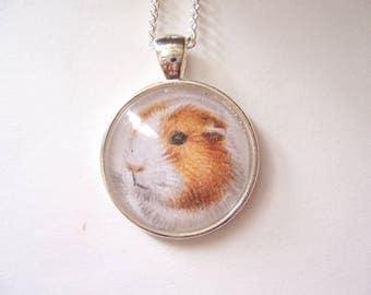 Guinea Pig Pendant Necklace, Silver pendant guinea pig jewelry, Animal Necklace, original drawing, Miniature art Jewellery