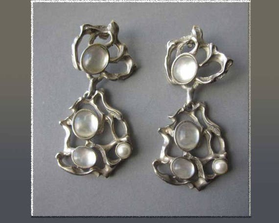 BIG and  Brutalist, Huge Cast Pewter Dangle Earrings, Faux Moonstones and Pearls, Costume Earrings, Canadian Style, Vintage Jewelry, Women