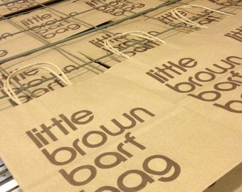Six (6) Little Brown Barf Bags, unlimited edition screenprints