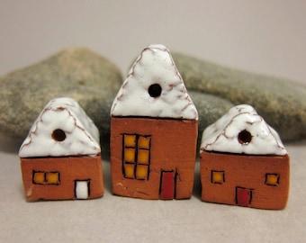 Sugar-coated Lucky Three...Miniature Terracotta Houses from elukka