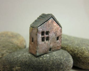 Raku House Bead/Pendant...Matte Copper Patina
