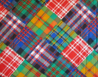 Vintage Plaid Patchwork Look Slinky Fabric 5.5 yards